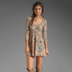 Free People Velvet Burnout Mini Dress Long Sleeve